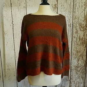 Wooden Ships striped knit sweater orange and brown